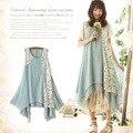 Japonés sweet encaje bordado de la vendimia de las mujeres más tamaño patchwork kawaii lindo sin mangas princesa dress mori chica a031