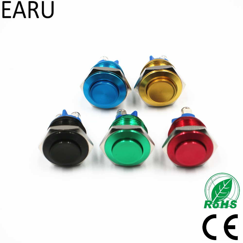 16mm High Head Waterproof Metal Push Button Switch Reset Button Switch Momentary Horn Car Red Green Yellow Blue Black 3A 250 VDC 6pcs 22mm momentary push button switch red green blue yellow black white normal open normal close