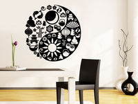 Yin Yang Wall Decal Mandala Sticker Ornament Indian Vinyl Yoga Namaste Art