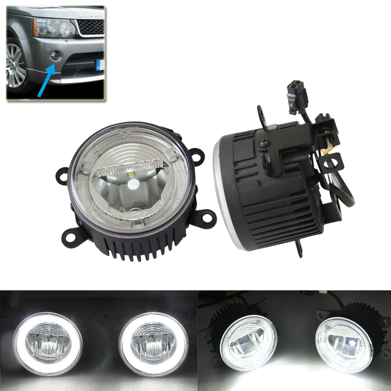 Direct Fit For Land Rover For Range Rover MK3 Sport For Freelander 2 LF For Discovery MK V Led Fog Lights Lamp W/ Guide DRL Ring leather car seat covers for land rover discovery sport freelander range sport evoque defender car accessories styling