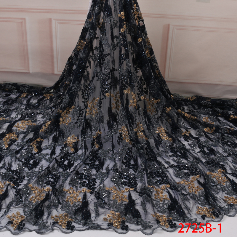2019 Luxury African Lace Fabrics French Handmade Beaded Laces Nigerian Embroidery Lace Fabric With Sequins For Wedding KS2725B-1