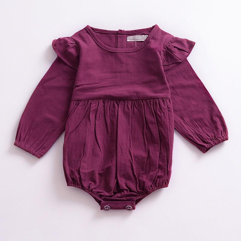 2018 Baby Girl Onesie Purple Baby Bubble Playsuit Baby Girl Bodysuits Newborn Onesie Flutter Sleeve Spring Autumn ChildrenS