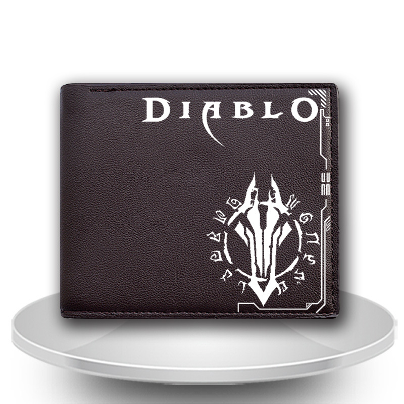 New Arrival PU Leather Anime short Wallet Diablo for Men / Women Purse Cartoon Billfold  With Card Holder cool student moneybag japan anime pocket monster pokemon pikachu cosplay wallet men women short purse leather pu coin card holder bag