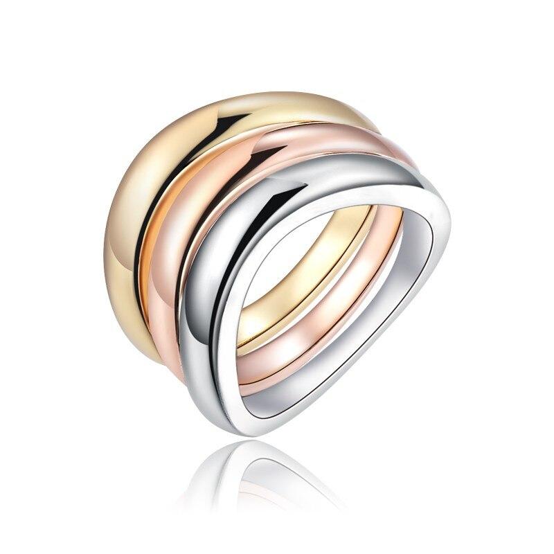 3 pièces/ensemble or Rose couleur argent anneaux en acier inoxydable bague pour les femmes mariée mariage fiançailles Anillos Mujer bague bijoux Z3