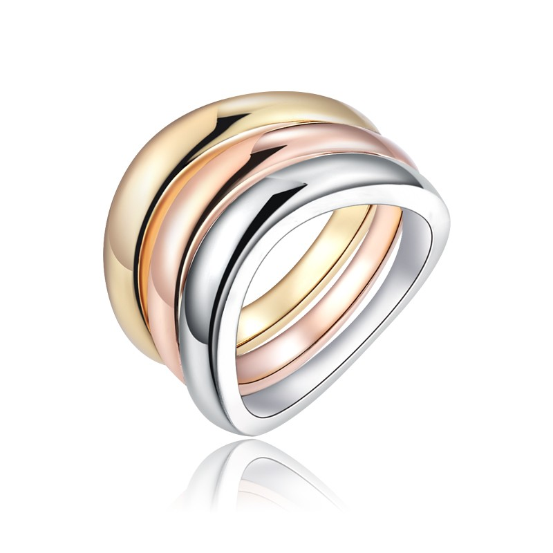 3Pcs/Set Rose Gold Silver Color Rings Stainless Steel Ring For Women Bride Wedding Engagement Anillos Mujer bague Jewelry Z3