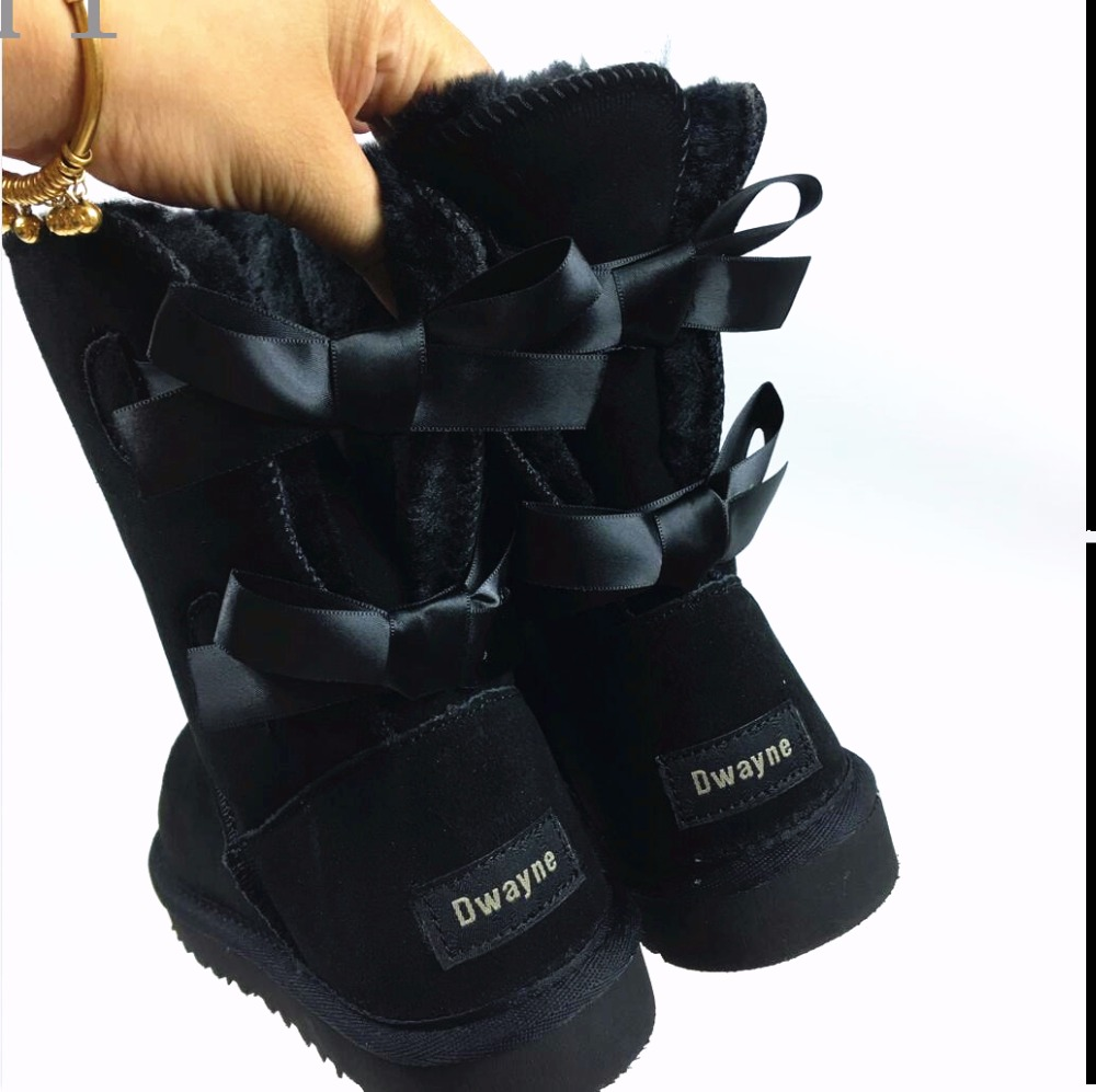 Brand High Quality Women Australia Snow Boots cowskin Fur Baileys two Bows boots women winter boots snow boots big size 34/44 2017 sales of the most popular hot winter boots women ug australia boots women slip warm women s boots in the snow size 34 44