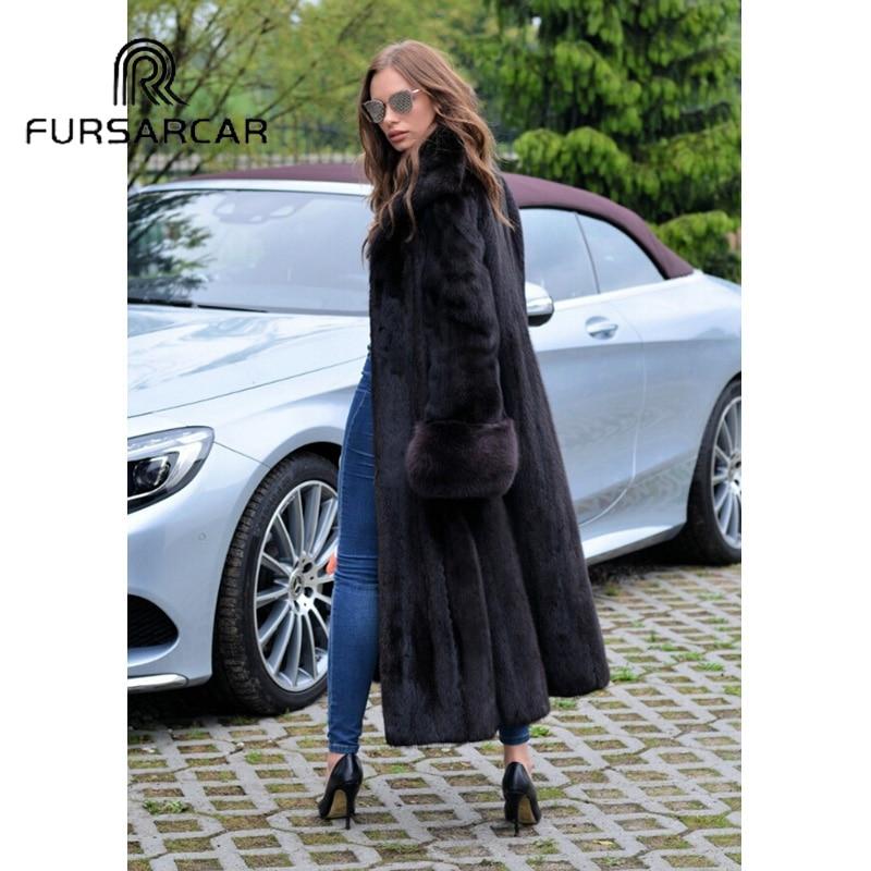 Femmes Luxe Vison Véritable Avec Femelle Fourrure Naturel Réel 2018 down Manteau Nouveau Long De Fursarcar Style Collar Black Turn 4qWgxZwX08