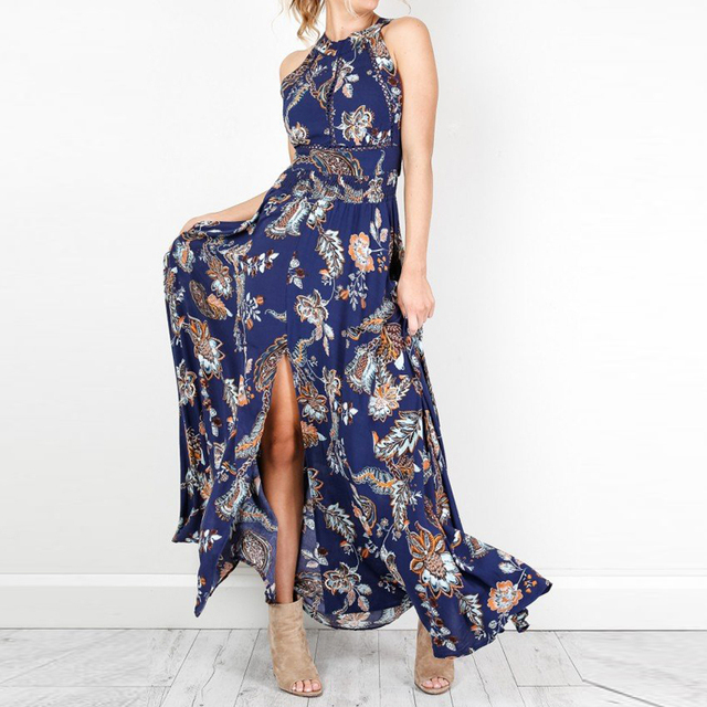 14ff4e7d8a51 Floral print women summer maxi dress 2018 navy Boho style halter backless  long split beach dress party dresses Vestidos AD179