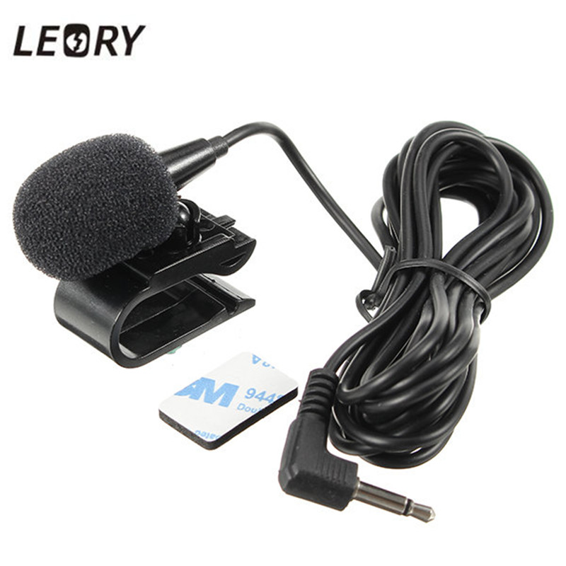 LEORY Car External Microphone Mic 3.5mm Stereo Jack For Car DVD Player GPS Navigation Mic With Fixing Clip 3 Meter Cable