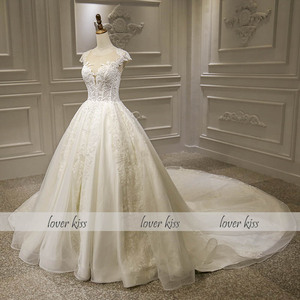 Image 2 - Lover Kiss Vestido De Noiva Luxury Sparkle Wedding Dresse 2020 Lace Beaded Cap Sleeves Princess Bridal Gowns Robe De Mariee