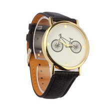 Unisex Watches Women Men Bicycle Pattern Dial Leather Band Quartz Analog Wrist Watch Male Lady relogio Clock Wholesale