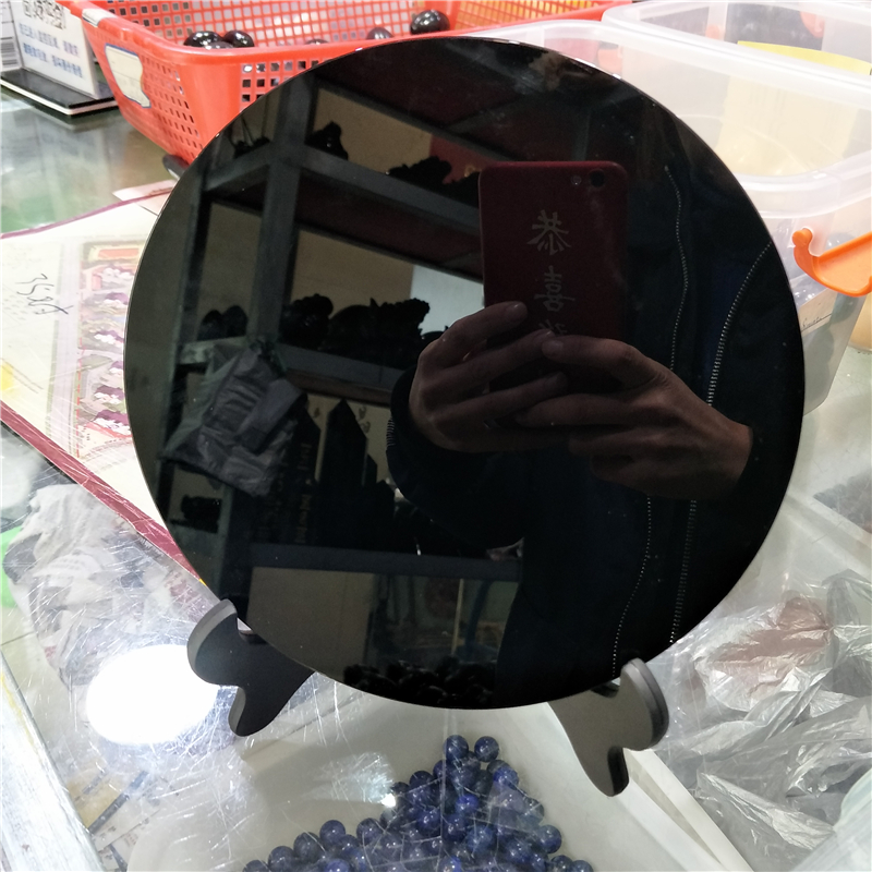 New arrivals 20cm high quality 100% natural black obsidian stone circle disk round plate fengshui mirror for home & office decor