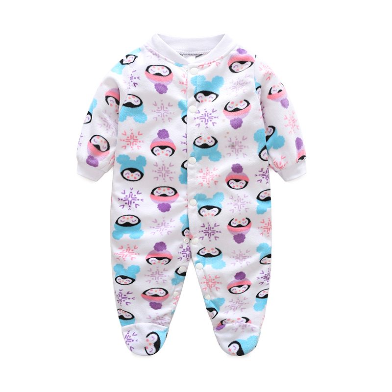 Baby Boys Romper Girls Jumpsuit Kids Clothing Winter Newborn Animal Cartoon Fleece Baby Body Suit Cartoon Long Sleeve Clothes
