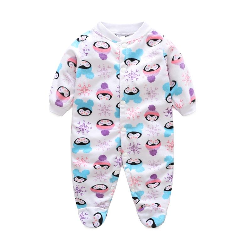 Baby Boys Romper Girls Jumpsuit Kids Clothing Winter Newborn Animal Cartoon Fleece Baby Body Suit Cartoon Long Sleeve Clothes