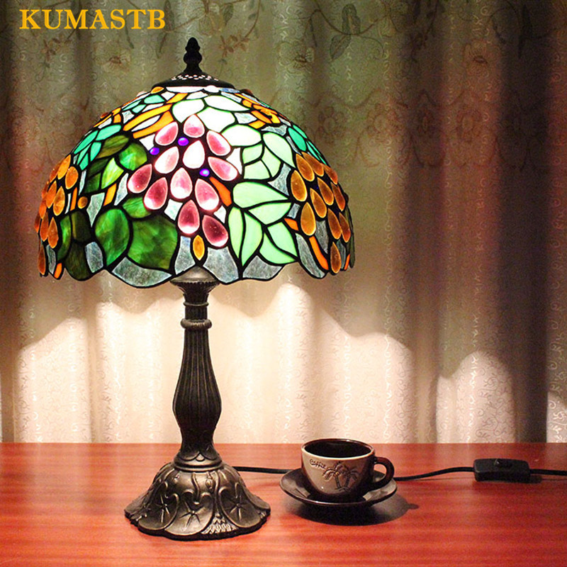 European Creative Study Bedside Table Lamp Tiffany Desk Lamp For Bedroom Art Colored Glass Grapes Table Lamp