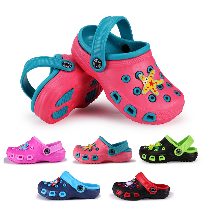 Boys And Girls Summer Fashion Children's Cartoon Cave Shoes Antiskid Baby Slippers Beach Flip Flops Kids