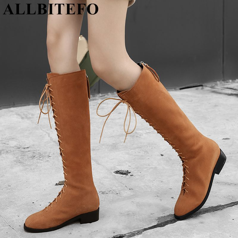 ALLBITEFO new winter genuine leather thick heel women boots brand high heels over the knee high boots winter snow girls boots allbitefo over the knee boots nubuck leather medium heel women boots 4 colors winter boots thick heel snow boots size 33 43