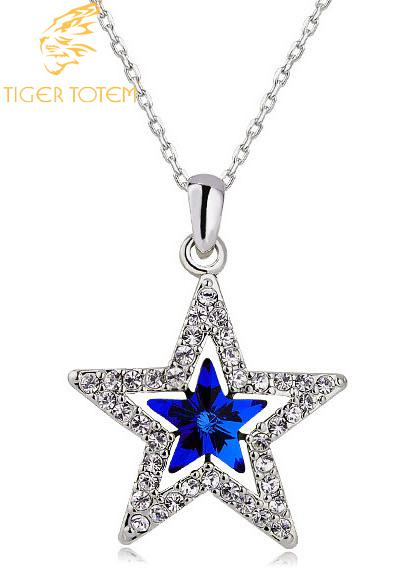Austria Crystal five pointed stars pendant necklace fashion jewelry tiger totem freeshipping promotion summer beach charms women