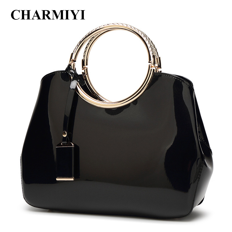 CHARMIYI High Quality Patent Leather Women Handbags Luxury Ladies Tote Bag Fashion Women Shoulder Evening Bags Party Style