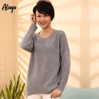 2019 Autumn New 100 Pure Cashmere Sweater Female Round Neck Long Sleeve Pullover Knitted Loose Korean Jumpers Womens Pull Femme