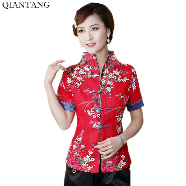7110280544 Hot Sale Red Traditional Chinese Blouse Women Cotton Linen Shirt Top V-Neck  Short Sleeves Clothing Size M L XL XXL XXXL Mnz03B