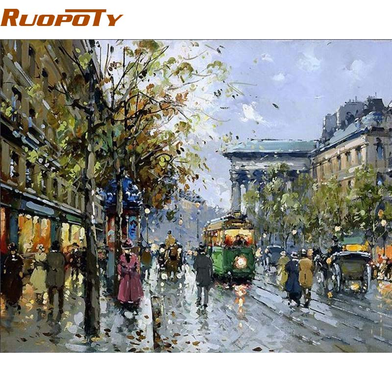 Online buy wholesale street scene painting from china for Buy street art online