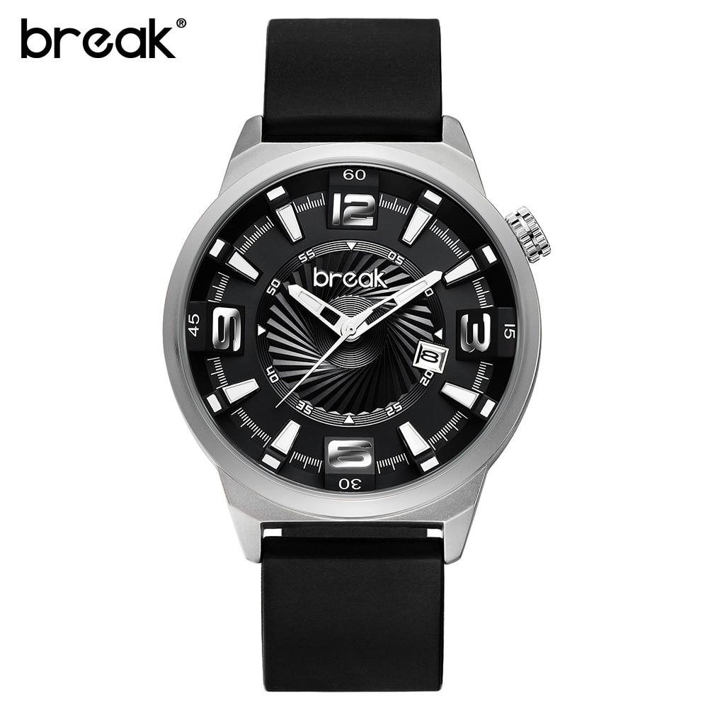 BREAK Futuristic Mens Watches Top Brand Luxury Rubber Strap Waterproof Military Quartz Sport Wrist Watches Clock Men Wristwatch