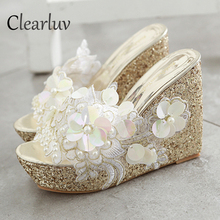 Summer sandals Beaded flowers platform wedges women slippers fashion flip flops hot bohemian national style C1324