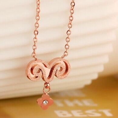 ᗜ lj Rose Fleur Pendentif Collier Rose Or Cristal Autrichien