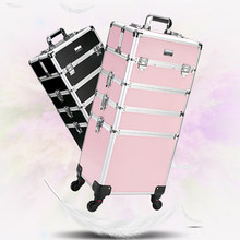 New Women Trolley Cosmetic Bags on Wheel,Nails Makeup Toolbox,Detachable Foldable Beauty Box Travel bag Rolling Luggage Suitcase(China)