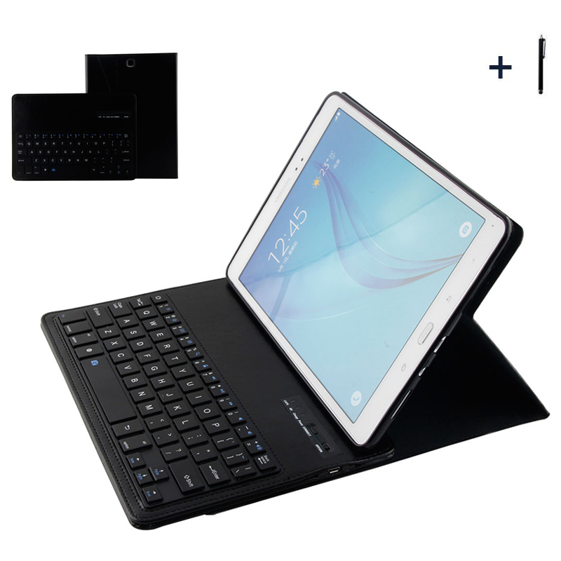 For Samsung Galaxy Tab A 9.7 Wireless Bluetooth Keyboard Case For Galaxy Tab A 9.7 T550 Tablet Flip Leather Stand Cover +Stylus luxury flip stand case for samsung galaxy tab 3 10 1 p5200 p5210 p5220 tablet 10 1 inch pu leather protective cover for tab3