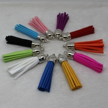 58 mm Tassel suede mix color for keychain charms jewelry mobile phone straps 50 unids leather