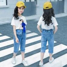 Summer Girls Clothing Set Crop Tops + Denim Capris Pants Jean Toddler Kids Clothes Sets Baby Girls Clothing Sets High Quality
