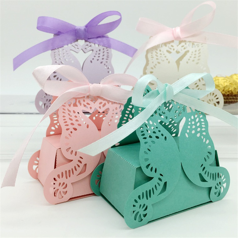 120PC Laser Cut Angel Wings Wedding Candy Box Sweet Gift Favor With