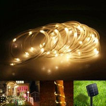 12M 100leds Garden String Lights Solar Rope tube light Led string Outdoor Patio Christmas tree Wedding Holiday Party Decoration(China)