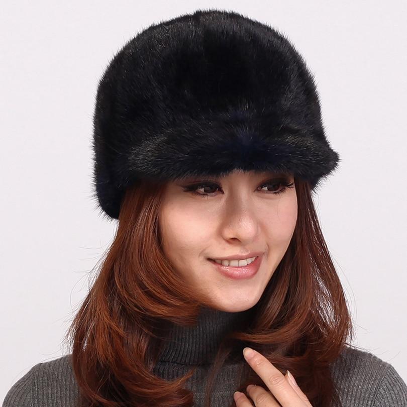 Women Visors Fashion gorro Feminino Inverno Solid winter Hat Caps Russian  Female Visor Casual Warm Real Fur Hat For Women-in Visors from Apparel  Accessories ... 780237ca3d1