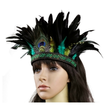 Fashion Accessories Hair Band Indian Peacock Feather Headdress Hair Headpieces Headband For Adults And Kids Halloween Carnival