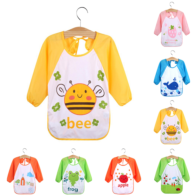 Lace-up Baby Feeding Bibs Waterproof Smock Bib Cartoon Long Sleeve Toddler Kids Burp Cloths Children Dinner Eating Accessory D35