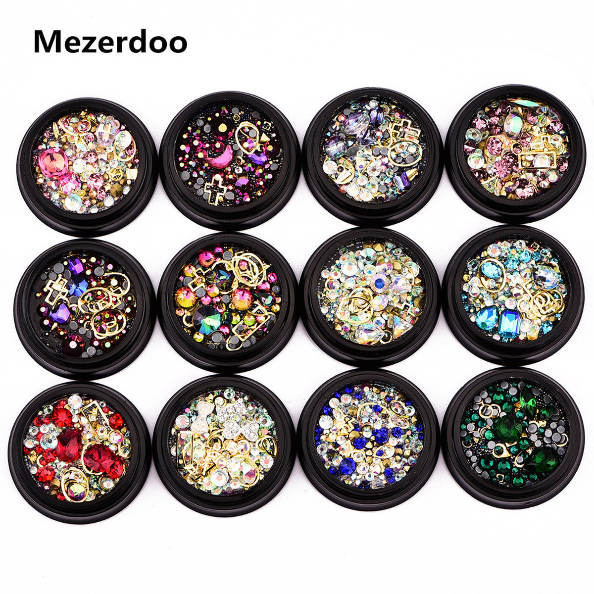 Nail Jewelry 1 Jar for Beads Caviar Nails Art Decoration Diamonds Tips Glass Glitter Rhinestones for Nail Mixed 3D Manicure DIY 10g box clear nail caviar micro beads 3d glitter mini beans tiny tips decorations diy nail art rhinestones manicure accessories