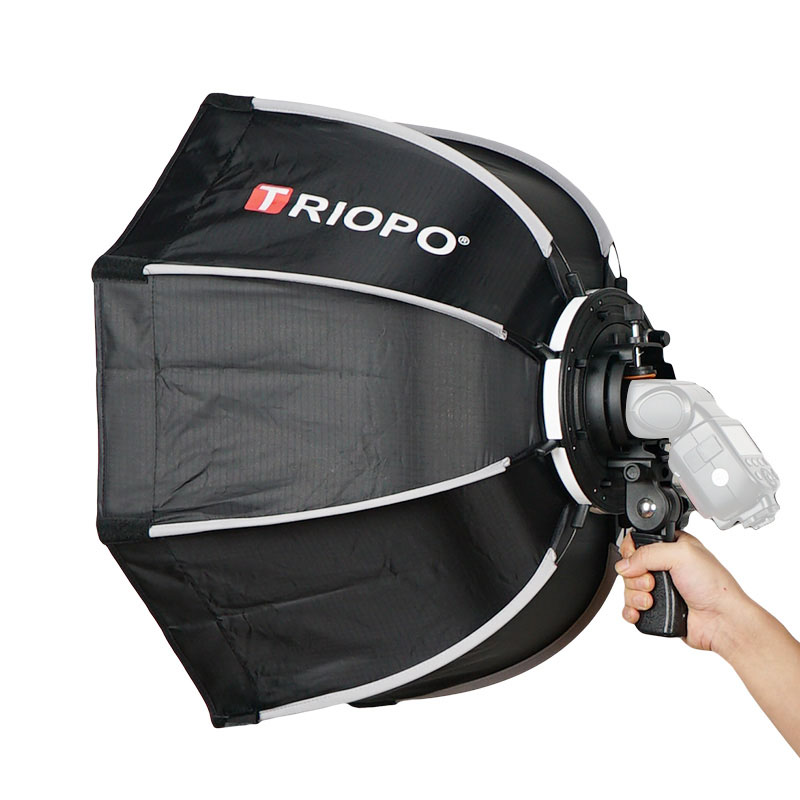 TRIOPO 65 cm Softbox plegable Octagon Soft box w/Handle para Godox Yongnuo On-Camera Speedlite Flash Light estudio fotográfico