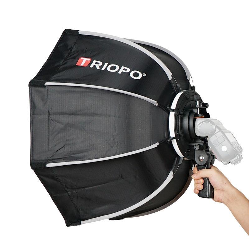 TRIOPO 65 cm plegable Softbox octogonal de caja w/Mango para Godox Yongnuo Speedlite luz Flash de estudio de fotografía Accesorios
