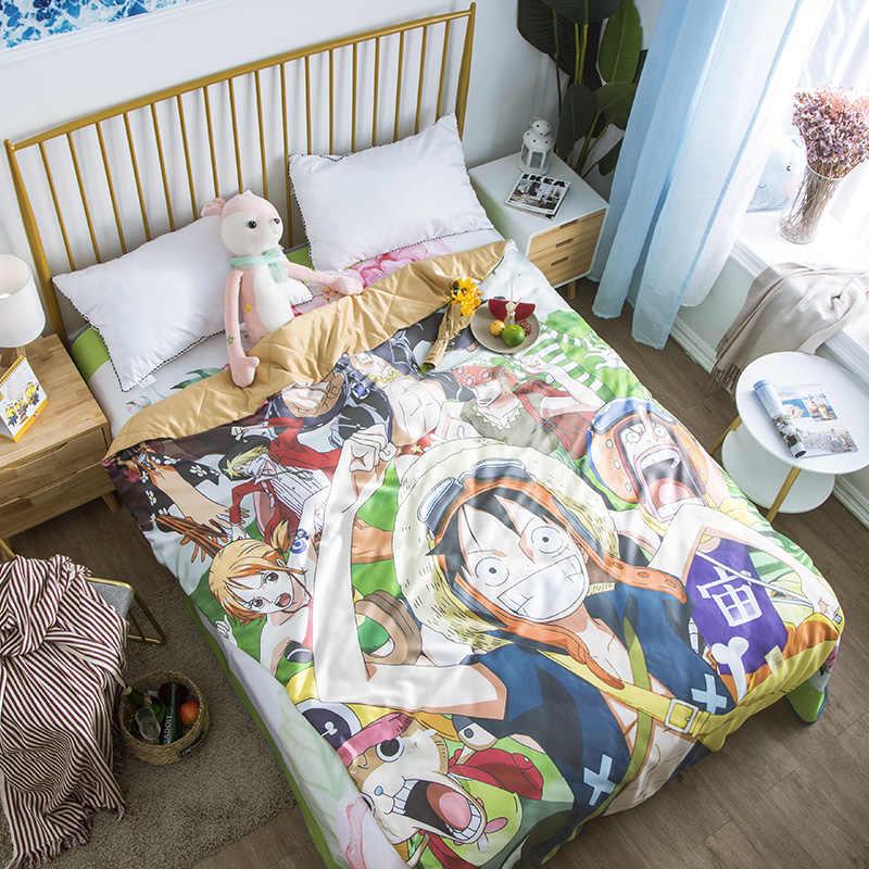 Un pastel de dibujos animados de verano manta fresca cubierta de aire acondicionado niños adultos Anime mono D. Luffy Alien manta de aire acondicionado