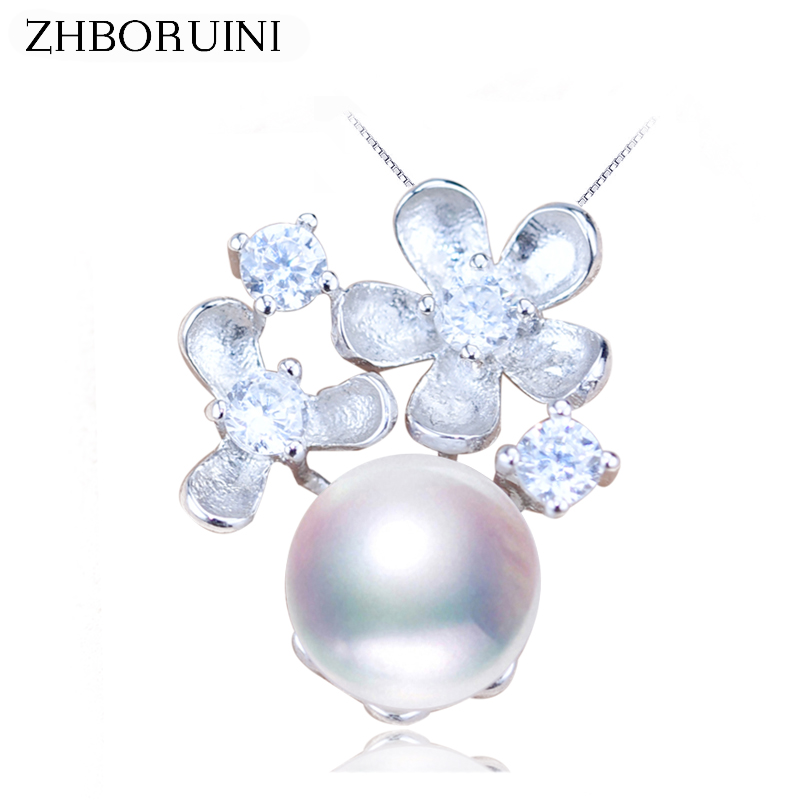 ZHBORUINI 2018 New Pearl Necklace Flower Pendant 925 Sterling Silver Jewelry Natural Freshwater Pearl Jewelry For Women Gift