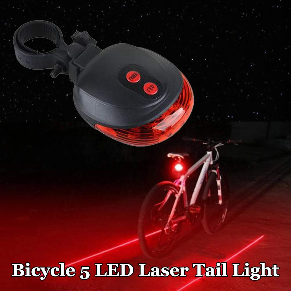 New 2020 5 LED Waterproof Bicycle Lights Red Beam Rear Cycle Bike Back Tail Lamp