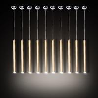 Simple Long Tube Aluminum Droplight Modern LED Pendant Light Fixtures Dining Room Single Head Hanging Lamp