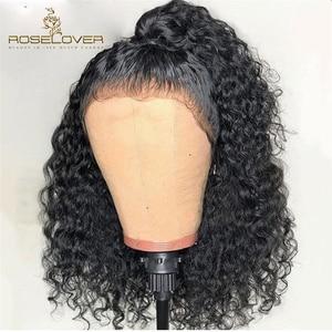 Image 1 - 딥 파트 150% 곱슬 인간의 머리 가발 13*6 레이스 프런트 인간의 머리 가발 미리 뽑아 젖은 물결 모양의 짧은 밥 가발 페루 레미 헤어