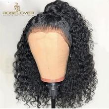 Głębokie część 150% kręcone ludzkie włosy peruka 13*6 ludzki włos koronki przodu peruki Pre oskubane na mokro i faliste peruka z krótkim bobem peruwiańskie włosy remy
