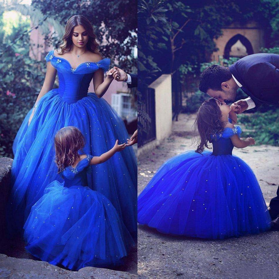 Flower Girl Dresses Special Occasion For Weddings Blue Kids Pageant Gowns Off Shoulder Beaded Ball Gown Mother Daughter Dresses