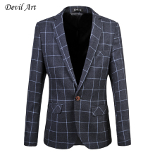 Brand Clothing Men's Dress Blazer Business Suit Jacket Plaid Wedding Blazer Slim Veste Homme Mariage Free Shipping Size: 6XL 519