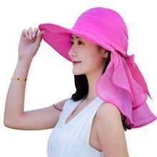 2018 Summer Hats For Women Foldable Sun Hat Female pink Beach Hat Wide Brim  Visor Chapeau Femme Adjustable Sunscreen UV Protect 17046f6152c7
